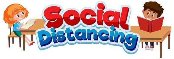 distanza sociale e bambini felici a scuola