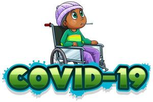 Covid-19 sign with sick boy in wheelchair vector