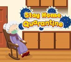 affiche de quarantaine avec une femme âgée dans un fauteuil à bascule
