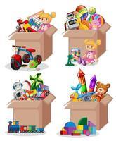 conjunto de caixas cheias de brinquedos vetor