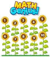 Math genius with counting flowers chart