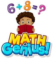 Math genius poster with boy doing homework vector