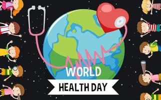 World health day with many earth and children  vector