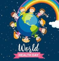 World health day poster with kids around earth  vector