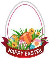 Feliz cartel de Pascua con huevos y marco de huevo