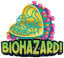 biohazard avec affiche de cellules de coronavirus vecteur