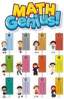 modelo educacional de gênio da matemática com tabuada