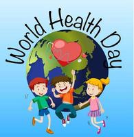 World health day poster with kids and globe  vector