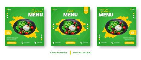Square green and yellow food promotion social media set vector