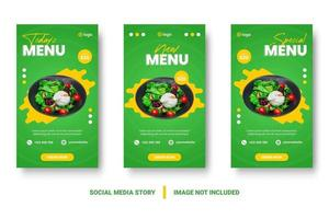 Vertical green and yellow food promotion social media set vector