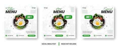 Square white and green food promotion social media set vector