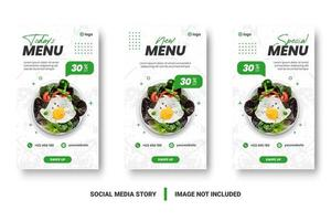 Vertical white and green food promotion social media set vector