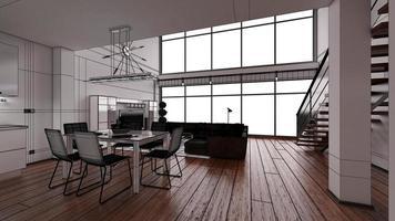 Representación interior 3D de un moderno y pequeño loft