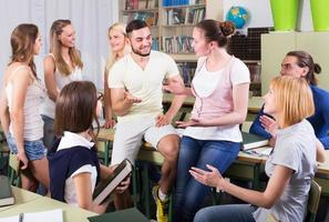 Students conversation in the classroom