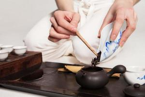 Chinese tea ceremony is perfomed by master
