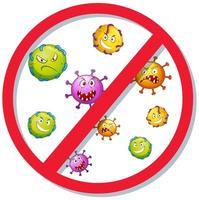 panneau d'arrêt avec de nombreuses cellules virales vecteur
