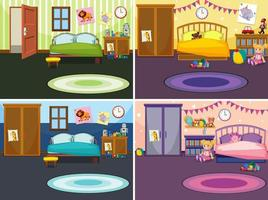 Four scenes of children's bedrooms vector