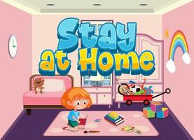 Stay at home concept to avoid spreading corona virus vector