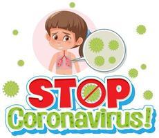 meisje met stop coronavirus teken
