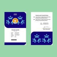 plantilla de tarjeta de identificación azul y blanca vector