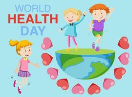 World health day with children on standing on earth  vector