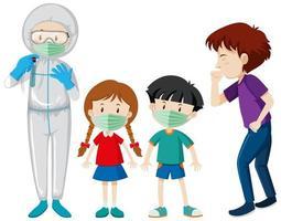 tema de coronavirus con personas enfermas y médico vector