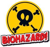 modèle de signe avec mot biohazard et crâne vecteur
