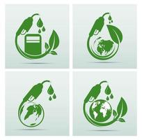 conjunto de iconos del día internacional del biodiesel verde vector