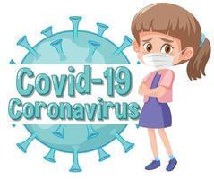 diseño de coronavirus con niña con mascarilla vector