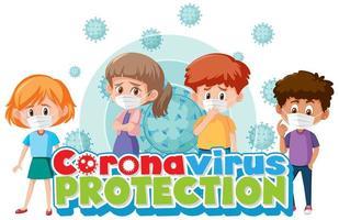 cartel de coronavirus con niños vector