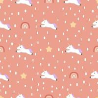 Seamless unicorn pattern with stars and rainbow vector