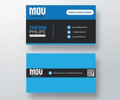Blue and black section business card vector