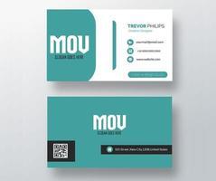tarjeta de visita curvada azul y blanca de la sección vector