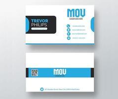 tarjeta de visita blanca con detalles redondeados azules vector