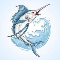 peixe marlin com desenho de água vetor