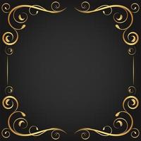 vintage oro rizado florece en marco cuadrado