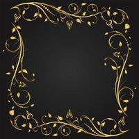 moldura quadrada de floreio floral ouro