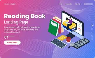 Reading book landing page template vector