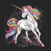 Unicorn with rainbow hair on black