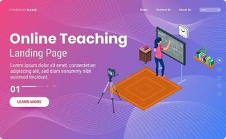 modelo de página de destino de transmissão ao vivo de ensino on-line vetor