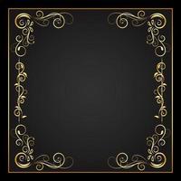 moldura quadrada dourada de fronteira e floreio entrelaçado
