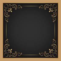 moldura quadrada floral ornamental ouro
