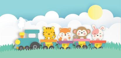 Paper art style animals on train vector