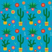Cinco de Mayo cactus and flowers seamless pattern