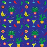 Cinco de Mayo cactus and margaritas seamless pattern