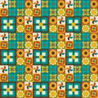 Retro floral geometric seamless pattern vector
