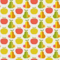 Retro pear and apples seamless pattern vector