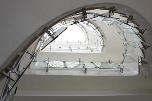 top view modern glass staircase