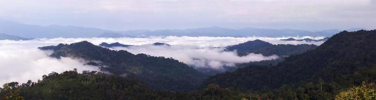 Mountain ranges with fog in panorama