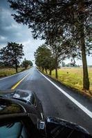 viaje por carretera en el asiento del pasajero